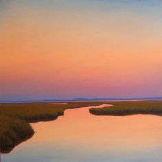 Peaceful Sky is a painting of a bright sunset over calm marsh waters.