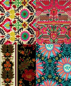For as long as I know, I'v been a fan of the western look on folkloric textiles. I am always amazed by the combinations of patterns, fabric and layers of…View Post Textures Patterns, Color Patterns, Print Patterns, Red Studio, French Pattern, Hand Work Embroidery, Textiles, Folk Fashion, Pattern Art