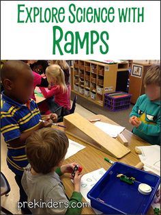 Pre-K kids love exploring with ramps! I've posted other science activities here before involving ramps. We've explored ramps in our science center and we've experimented with ramps in small group, which you can find on Science Projects For Preschoolers, Preschool Science, Science For Kids, Science Party, Science Ideas, Primary Science, Science Crafts, Fall Preschool, Elementary Science