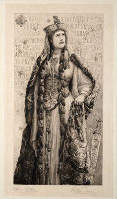 Ellen Terry as Lady Macbeth. Etching  by Henry Batley. Published July 1, 1889, by E.E. Leggatt, 62 Cheapside, London