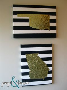 """DIY State Map Glitter Canvas - I'd love to do this for all of the states that I have called """"home"""""""