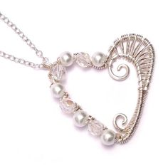 Wire Weave Heart Bridal Pendant Necklace