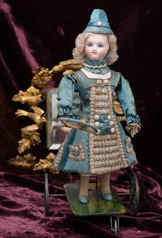 """13"""" (33 cm) Charming All Original French Antique Mechanical Doll Playing Badminton by Vichy Fils, c.1875"""