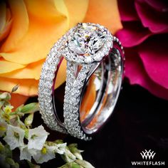 Park Avenue Diamond Engagement Ring with Custom Double Pave Wedding Band.