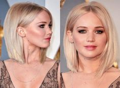 Jennifer Lawrence at the 2016 Academy Awards - Curly Bob Hairstyles Medium Hair Cuts, Short Hair Cuts, Medium Hair Styles, Curly Hair Styles, Wavy Hair, New Hair, Curly Lob, Wavy Lob, Short Straight Hair