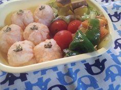 For my son. 鮭おにぎり、野菜炒め、南瓜甘煮、プチトマト