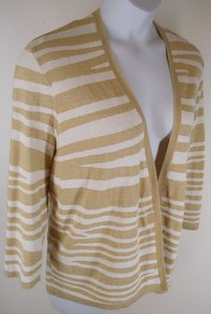 Chico's Sweater Size 3 Gold Shimmer Animal Stripe Open Front Wool Cotton L 16 18 #Chicos #Cardigan