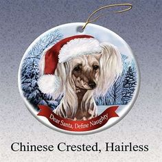Holiday Pet Gifts Chinese Crested Hairless Santa Hat Dog Porcelain Christmas Tree Ornament >>> See this great product. (This is an affiliate link)