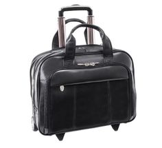 McKleinUSA Soho Leather Wheeled Laptop Briefcase - Black