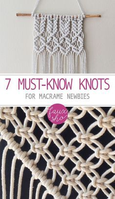 Learn to tie Macrame Knots. Start your own macrame DIY project. You only need to master these 7 DIY macrame knots. Soon a beautiful project will be yours! Macrame Wall Hanging Diy, Macrame Art, Macrame Projects, Craft Projects, How To Macrame, Craft Ideas, Diy Ideas, Macrame Plant Hanger Diy, Macrame Wall Hangings