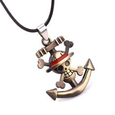 One Piece Luffy Skull Anchor Metal Anime Necklace  Get this and other amazing Anime gear - Only at www.OtakuForest.com