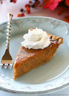 Pumpkin Eggnog Pie - a traditional pumpkin pie with an eggnog twist. the-girl-who-ate-everything.com