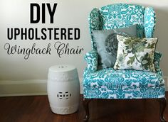 Lovely Little Life: DIY Upholstered Wingback Chair.  This one gave me an idea... Combine cushion and chair?!