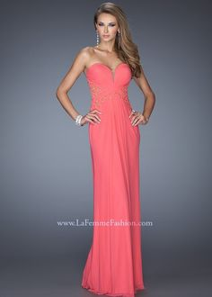 La Femme 19889 Strapless Evening Gown