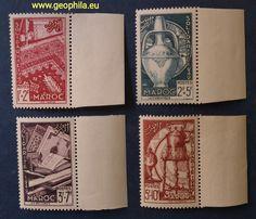 Maroc Français (Morrocco,  Maroko) YT 288-291 * #timbre #stamp #znamky #philatelie #philately #filatelia Stamp, Rare Stamps, Morocco, Africa, Stamps