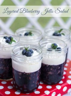 Jello salads need to make a come back! Not sure why they ever went out of style because they are delicious and super easy to make! My Layered Blueberry Jello Salad is gonna make you smile.