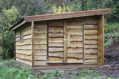 This Large Waney Edge Rustic Shed Is A Beautiful Yet Functional Example Of How You Can Increase Your Storage And Workspace. Solidly Built And Made To Last. Woodworking Plans, Woodworking Projects, Rustic Shed, Wooden Workshops, Wood Trellis, Building A Garage, Wood Mantle, Tiny House Cabin, Diy Shed
