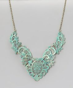 Turquoise Lace Bib Necklace