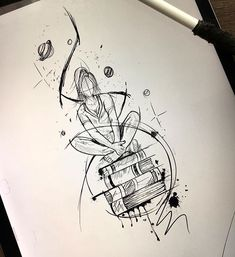 (notitle) – Tattoo buch – (notitle) – Tattoo buch – This image has. Dark Art Drawings, Pencil Art Drawings, Art Drawings Sketches, Tattoo Sketches, Cool Drawings, Tattoo Drawings, Tattoo Buch, Book Tattoo, Body Art Tattoos