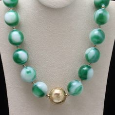 """Marbles Necklace Green & White Glass Vintage Castlecliff 31 1/2"""" Long @97.58"""