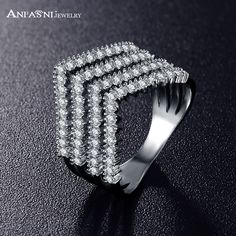 ANFASNI Women Big Rings Jewelry Plate Engagement Style Ring CZ Stones Paved Wedding Rings For Ladies CRI0333