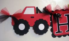 Monster Truck Red and Black Boys Happy by SparrowsKreations, $29.00