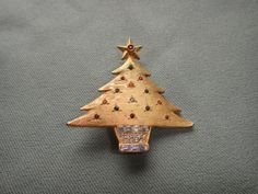 DeNicola Christmas Tree Rhinestone Brooch Pin by NOTABOUTNEED, $35.00