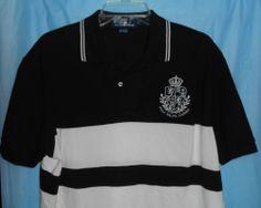 POLO RALPH LAUREN Large Crest Mens Size L Large Polo Black & White EUC