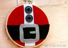 """Lines Across"": Santa's Belt Embroidery Hoop Ornament {Christmas Ornament #2}"