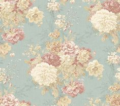 Ballad Bouquet (AR200513) - Shand Kydd Wallpapers - A beautiful shabby chic design with a misty floral bouquet set against a pretty aqua jade blue woven effect background. Wide width. Please request sample for true colour match and texture. Pre pasted.