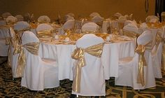 Chair covers are an affordable and easy way to instantly spruce up any reception venue. Add a few extra accents to them, like sashes, flowers and ribbons and you can instantly take your look from simple to grand, from formal to flirty, or from understa. Wedding Chair Decorations, Wedding Chairs, Wedding Events, Wedding Day, Wedding Stuff, Dream Wedding, Weddings, Comfortable Living Room Chairs, Leather Chair With Ottoman