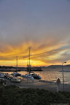 Sunset after the storm. Corfu old port