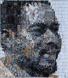 """Since 1999, Zac began collecting junk found around often in the trash, then glued to a wooden substrate to form an image an image – in the case, portraits. His artworks are made by assembling on a large-scale (the pieces average about 28 """"by 35″) and when viewed up close looks like a series of small objects stuck meaningless, but when seen from far away are impressive portraits. > zacfreemanart.com"""