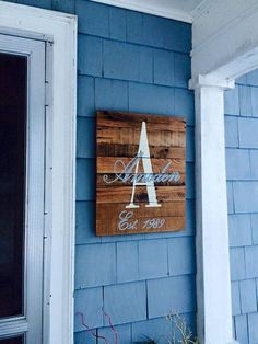 Monogrammed Wood Sign with personalized by barndoorstudios on Etsy: