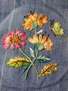 Ribbon embroidery on denim