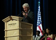 Former US President Bill Clinton speaks on behalf of his wife and Democratic presidential nominee Hillary Clinton during a 2016 Presidential Election...