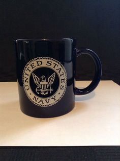 United States Navy Blue White 2 Sided Coffee Cup Mug