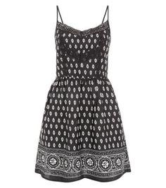 Black Abstract Tile Print Lace Trim Skater Dress