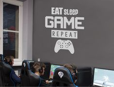 Our cool Eat Sleep Game Repeat Wall Sticker has a choice of Xbox, Playstation, mouse, gaming pc or Nintendo switch images and 21 colour options *SHOP NOW* Wall Stickers Quotes, Wall Decals, Gamer Bedroom, Childrens Wall Stickers, Pc Setup, Perfection Quotes, Playroom Decor, Eat Sleep, Game Room