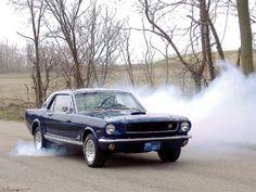 Mustang burning rubber