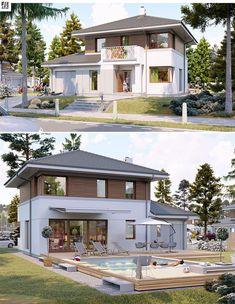 Projekt domu Taurus 3 G Modern House Facades, Modular Homes, Facade House, Home Fashion, Exterior Design, House Plans, Construction, House Design, Mansions