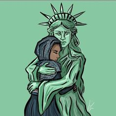14 Artists React to Refugee Ban with Compassionate Illustrations (By Sara Barnes on January Donald Trump, We Are The World, In This World, Muslim Ban, Liberty Statue, Statue Of Liberty Drawing, Intersectional Feminism, Faith In Humanity, Illustrations
