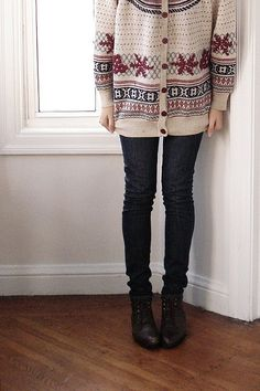 fair isle sweater + skinny jeans