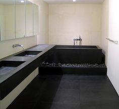 black floored bathroom