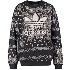 adidas Originals PAISLEY Sweatshirt/white ($75) ❤ liked on Polyvore featuring tops, hoodies, sweatshirts, sweaters, zzz winter storage, black, black sweatshirt, white crewneck sweatshirt, white crop top and black crewneck sweatshirt
