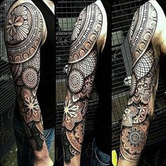 "Insanely detailed geometric tattoo full sleeve black ink ""✨✨"""
