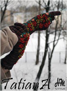 """Купить Эксклюзивные вязаные перчатки с вышивкой """"Malabrigo4"""" - комбинированный, перчатки, перчатки женские, перчатки вязаные"""