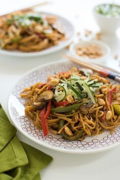 Spicy Peanut Spaghetti Stir-Fry with Ginger Pickled Cucumber - A one-pot meal with huge Asian flavors!   foxeslovelemons.com