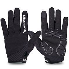 Kutook Autumn Gel Pad Full Finger Bike Gloves Finger Tip with Touch Screen Function (Black, Large) Check out the image by visiting the link.