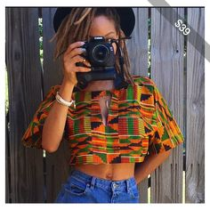 Custom African Fabric Crop Top With Peep Chest Kente Ankara